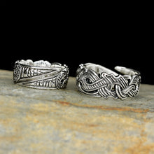 Load image into Gallery viewer, Silver Viking Raven Rings on Rock  - Hugin & Munin