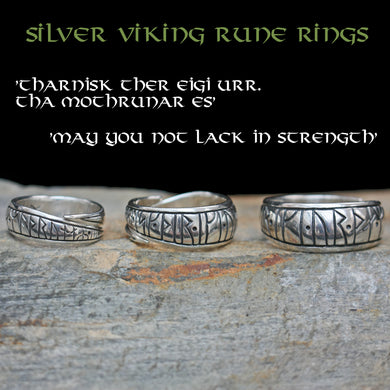 Silver Viking Strength Rune Rings on Rock