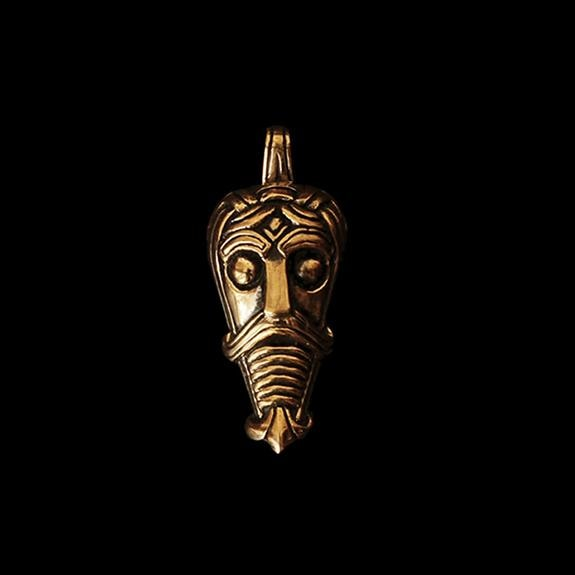 Danish Viking God Mask Pendant - Bronze - Viking Pendants