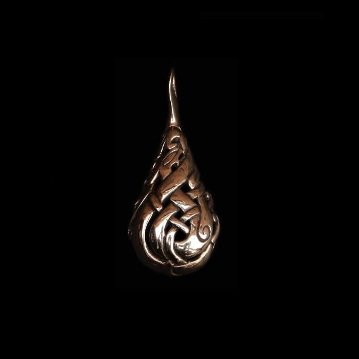 Urnes Lovers Teardrop Pendant - Bronze - Viking Pendants