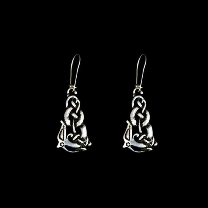 Silver Urnes Wolf Earrings - Viking Earrings