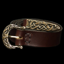 Load image into Gallery viewer, High status leather Viking belt with bronze Urnes style fittings - Viking Belts - Viking Clothing