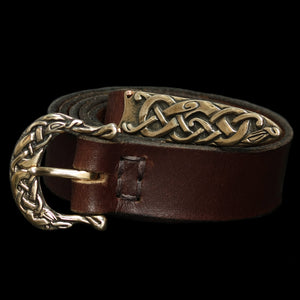 High status leather Viking belt with bronze Urnes style fittings - Viking Belts - Viking Clothing