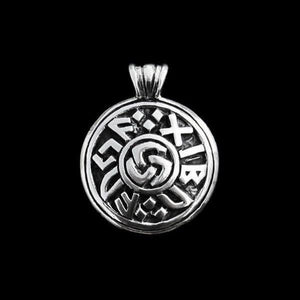 Silver Round Viking Luck Pendant - Viking Pendants