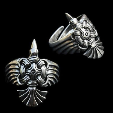 Silver Viking Raven Wing Ring - Small - Viking Rings
