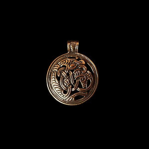 Round Dragon Beast Pendant - Bronze - Viking Pendants