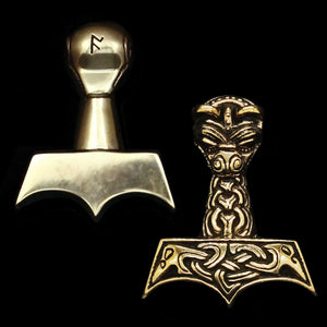 Large And Ferocious Thors Hammer - Bronze - Viking Pendants