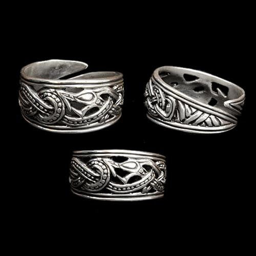 Silver Openwork Ringerike Dragon Ring - Viking Rings