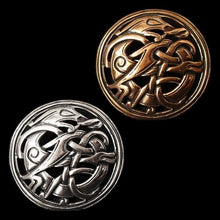 Load image into Gallery viewer, Round Urnes Dragon Brooch - Viking Brooches