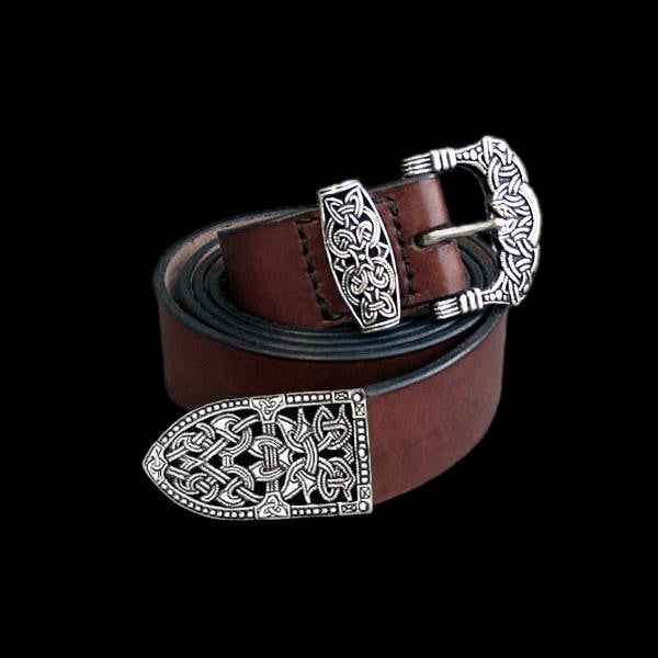 High Status Viking Belt With Silver Fittings - Brown / Gokstad - Belts & Fittings