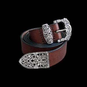 High Status Viking Belt With Gokstad Silver Fittings - Brown Strap - Belts & Fittings