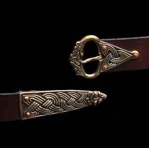 High Status Viking Belt With Bronze Fittings - Brown / Borre Style With Wolf Head - Belts & Fittings