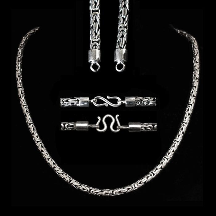 5mm Silver King Chain Necklace With Simple Loop Heads - Viking Jewelry