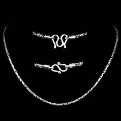 3mm Silver Viking King Chain Necklace With Loop Heads - Viking Necklaces