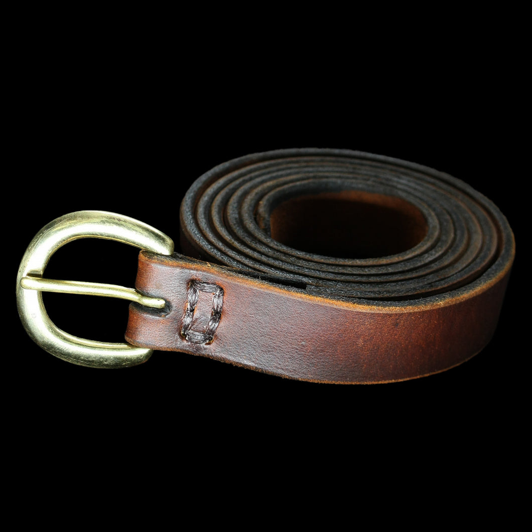 Leather Viking Belt with Brass Buckle - 1 Inch Width