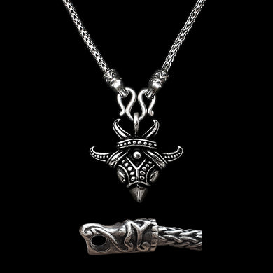 Sterling Silver Viking Snake Chain Necklace with Gotlandic Dragon Heads & Raven Pendant