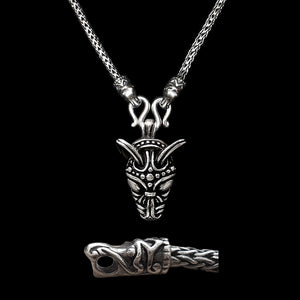 Sterling Silver Viking Snake Chain Necklace with Gotlandic Dragon Heads & Wolf Head Pendant