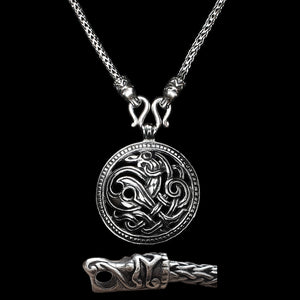 Sterling Silver Viking Snake Chain Necklace with Gotlandic Dragon Heads & Jelling Dragon Pendant