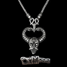 Load image into Gallery viewer, Sterling Silver Viking Snake Chain Necklace with Gotlandic Dragon Heads & Odin Mask Pendant