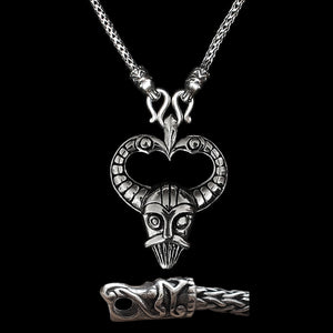 Sterling Silver Viking Snake Chain Necklace with Gotlandic Dragon Heads & Odin Mask Pendant