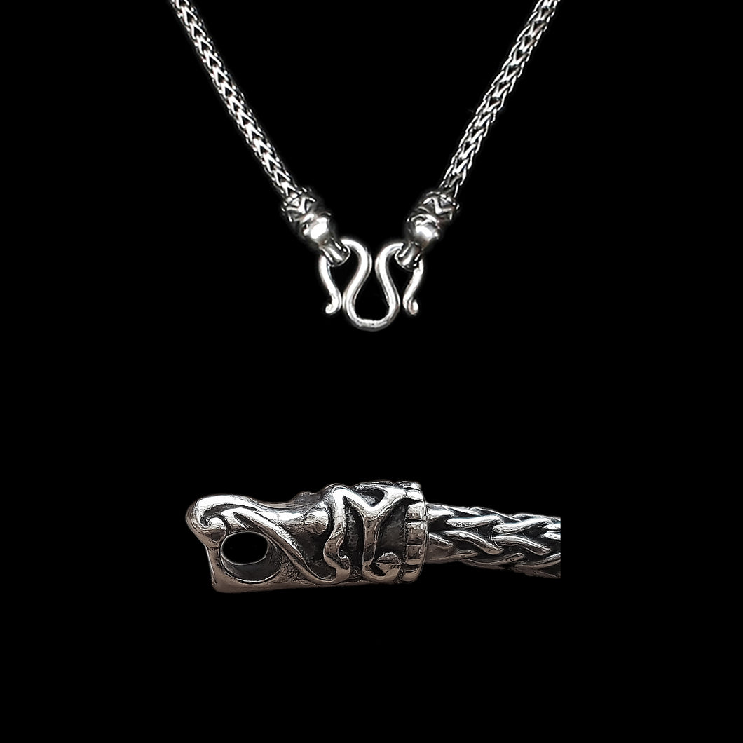 Sterling Silver Viking Snake Chain Necklace with Gotlandic Dragon Heads & Butterfly Clasp