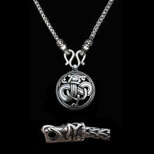 Load image into Gallery viewer, Sterling Silver Viking Snake Chain Necklace with Gotlandic Dragon Heads & Urnes Dragon Pendant