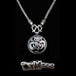 Sterling Silver Viking Snake Chain Necklace with Gotlandic Dragon Heads & Urnes Dragon Pendant