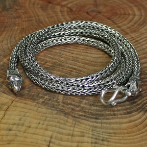 Slim Silver Snake Chain Necklace with Ferocious Wolf Heads - Viking Necklaces