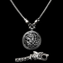 Load image into Gallery viewer, Slim Silver Snake Chain Viking Necklace with Ferocious Wolf Heads with Silver Jelling Dragon Pendant