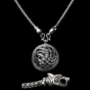 Slim Silver Snake Chain Viking Necklace with Ferocious Wolf Heads with Silver Jelling Dragon Pendant
