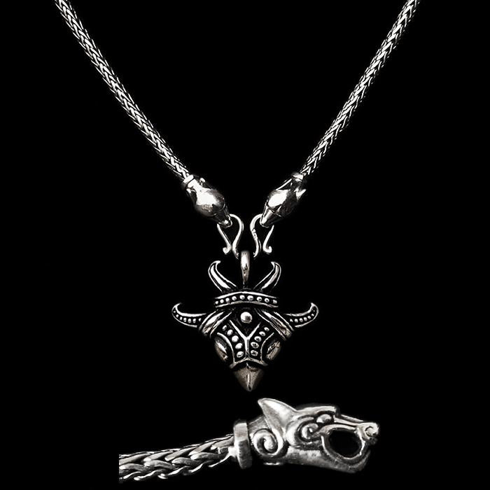 Fully Customisable Slim Silver Snake Chain Pendant Necklace with Ferocious Wolf Heads