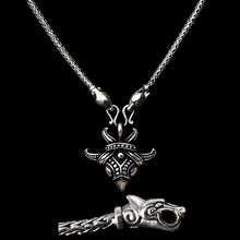 Load image into Gallery viewer, Slim Silver Snake Chain Viking Necklace with Ferocious Wolf Heads with Silver Raven Pendant