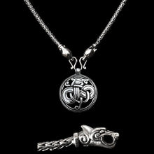 Load image into Gallery viewer, Slim Silver Snake Chain Viking Necklace with Ferocious Wolf Heads with Silver Urnes Dragon Pendant