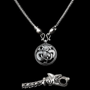 Slim Silver Snake Chain Viking Necklace with Ferocious Wolf Heads with Silver Urnes Dragon Pendant