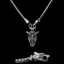 Load image into Gallery viewer, Slim Silver Snake Chain Viking Necklace with Ferocious Wolf Heads with Silver Wolf Pendant