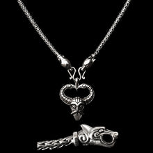 Load image into Gallery viewer, Slim Silver Snake Chain Viking Necklace with Ferocious Wolf Heads with Silver Odin Pendant