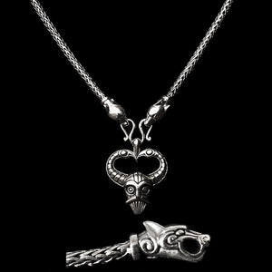 Slim Silver Snake Chain Viking Necklace with Ferocious Wolf Heads with Silver Odin Pendant