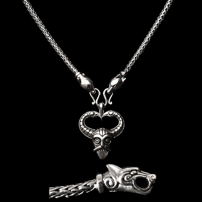 Slim Silver Snake Chain Necklace with Ferocious Wolf Heads with Silver Odin Pendant - Viking Necklaces