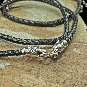 5mm Thick Braided Leather Necklace with Silver Ferocious Wolf Heads