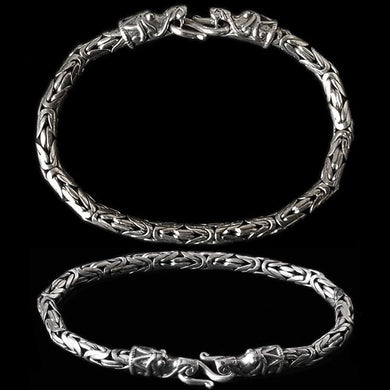 5Mm Silver King Bracelet With Gotlandic Dragon Heads - Viking Bracelets