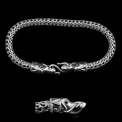 5Mm Silver Snake Bracelet With Gotlandic Dragon Heads - Viking Bracelets
