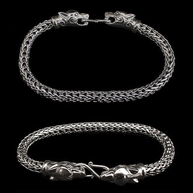 5Mm Silver Snake Bracelet With Ferocious Wolf Heads - Viking Bracelets