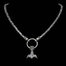 Load image into Gallery viewer, 5mm Silver King Chain Necklace with Split Ring & Ferocious Beast Thor's Hammer - Viking Necklaces