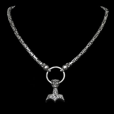 5mm Silver King Chain Necklace with Split Ring & Ferocious Beast Thor's Hammer - Viking Necklaces