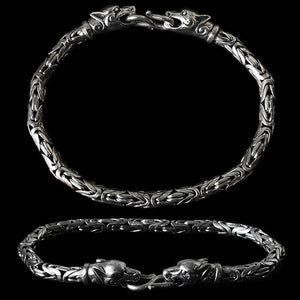5Mm Silver King Bracelet With Ferocious Wolf Heads - Viking Bracelets