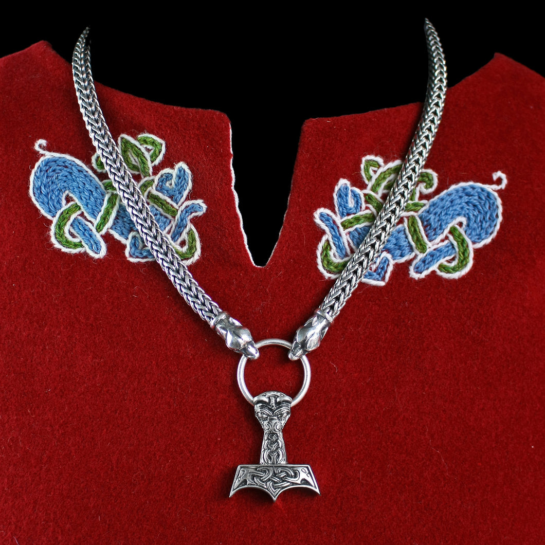 8mm Thick Silver Snake Chain Thor's Hammer Necklace with Ferocious Wolf Heads & Large Ferocious Thor's Hammer Pendant - Viking Jewelry