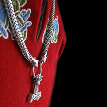 Load image into Gallery viewer, 8mm Thick Silver Snake Chain Thor's Hammer Necklace with Ferocious Wolf Heads & Large Ferocious Thor's Hammer Pendant Side View - Viking Jewelry