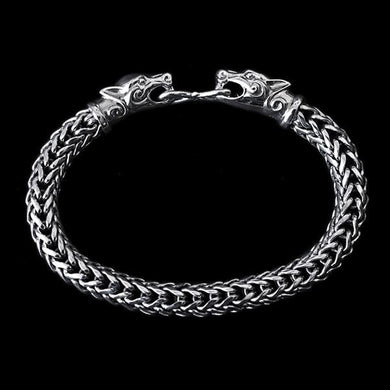 8Mm Silver Snake Bracelet With Ferocious Wolf Heads - Viking Bracelets