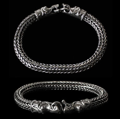 8Mm Silver Snake Bracelet With Gotlandic Dragon Heads - Viking Bracelets