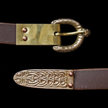 Load image into Gallery viewer, Custom Brown Leather Viking Belt - Dot & Ring Buckle - Large Borre Strap End - Plain Buckle Plate